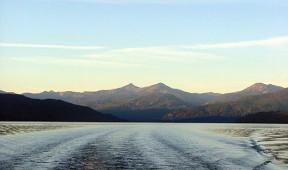 Wake behind a boat on Priest Lake