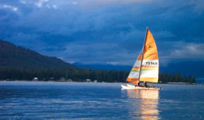 Sailing on Priest Lake near Elkins Resort
