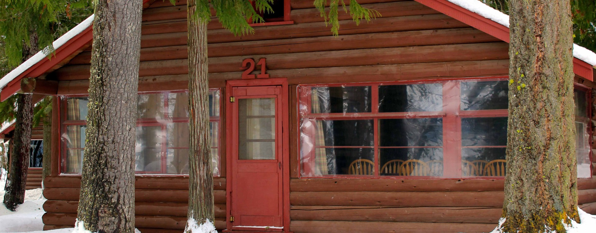 Our cabins at Elkins Resort are especially cozy with a fresh coat of snow