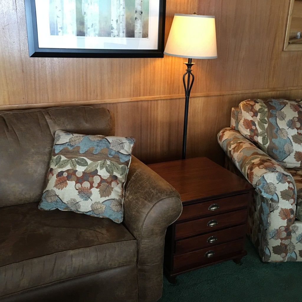 Upgraded couches and coffee tables at Elkins Resort
